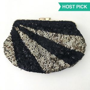 Art Deco Sequined Clutch Bag w/ Chain Strap