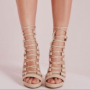 841796536ed4 Missguided Platform Lace Up Nude Heels