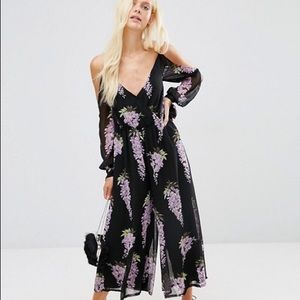 0bed5d67ae841c ... ASOS jumpsuit with cold shoulder in Lilac Print Maroon ...