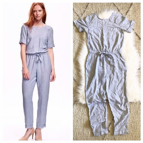 Old Navy Pants Chambray Striped Romper Jumpsuit Vacay Poshmark