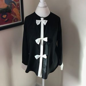 Pink Tartan Black and White Bow Blouse