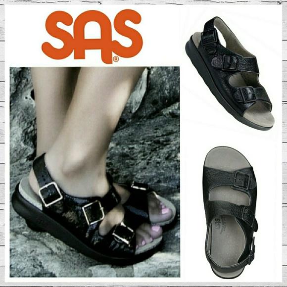 Sas Relaxed Black Sandals Sz