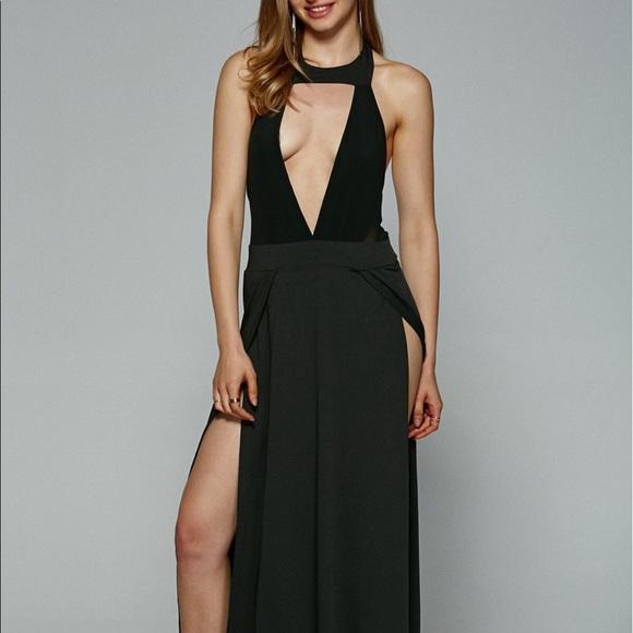 838f77a24b Long Black sexy High Slit Maxi Dress S