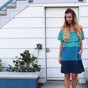 teal color block dress