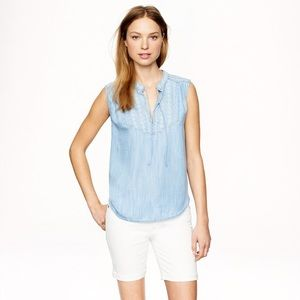 J. Crew Embroidered sleeveless top in chambray
