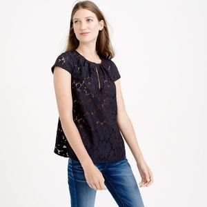 J. Crew Cap sleeve floral lace top in cobalt blue