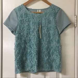 Lauren Conrad Soft Blue Raised Floral Top