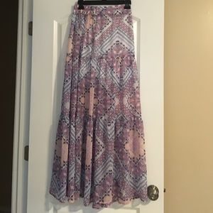 Express Pink and Purple Printed Maxi Skirt