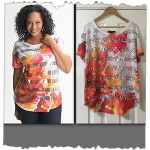 Lane Bryant Colorful Floral & Sequin Tee