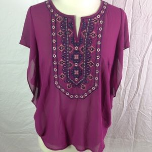 Stitch Fix Skies Are Blue Magenta Embroidered Top