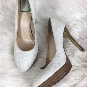 Nine West white eyelet platform heels bridal