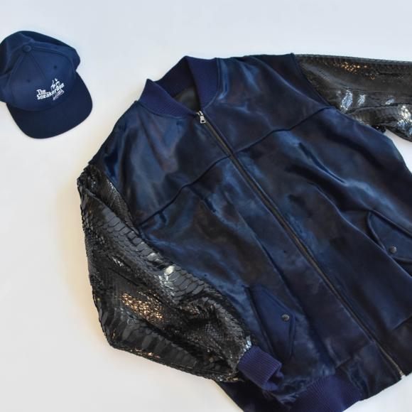 Custom Other - Custom Navy Blue & Black Fur/Reptile Skin Bomber