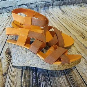 Max Rave Orange Elastic Wedge Sandals