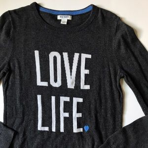Old Navy LOVE LIFE 💙 charcoal gray sweater small