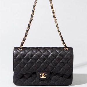 CHANEL Jumbo Icon Black and Gold Caviar Handbag