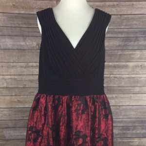 Adrianna Papell Fit & Flare Black Red Floral Dress