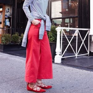 Wide-leg cropped chino pant-warm cerise