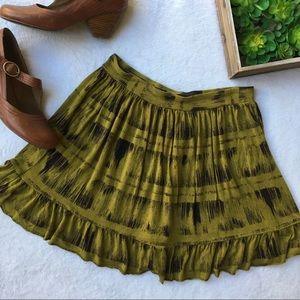 Deletta ikat print ruffle hem olive green skirt