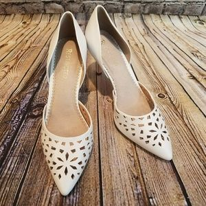 New Restricted White Cutout Pumps