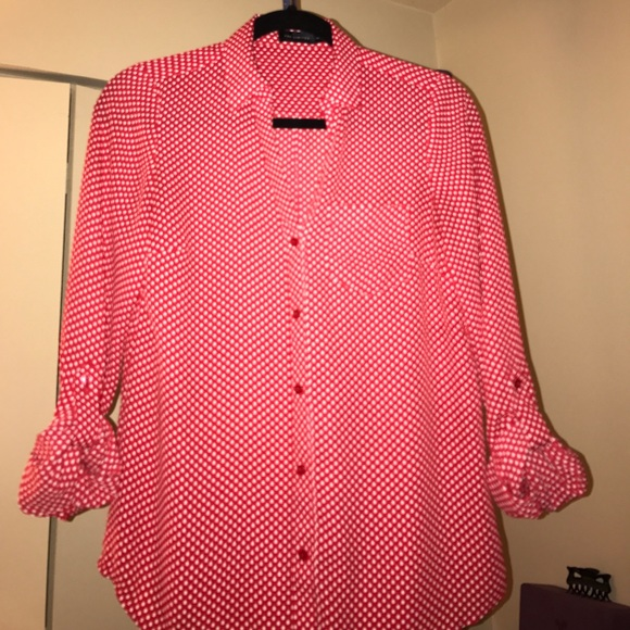 The limited red white polka dot button down blouse for Button down polka dot shirt