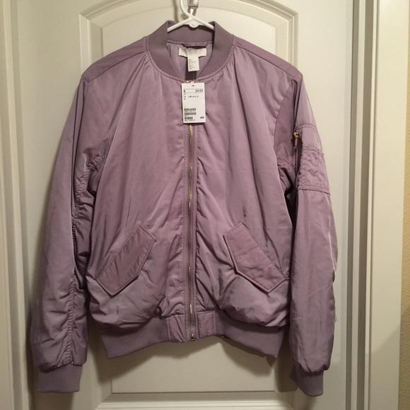 d55d85669 NWT Lavender Satin Bomber Jacket NWT