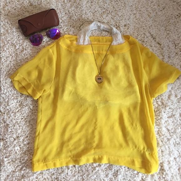 73 off american apparel tops american apparel yellow for American apparel mesh shirt