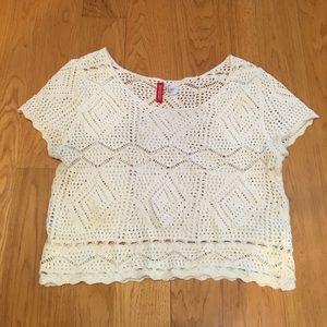 White Crochet Tee