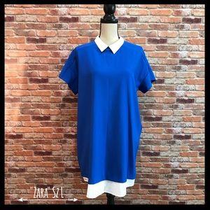 Zara Basic Shift Dress W/Collar & Layered Hem
