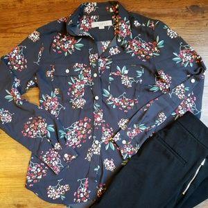Ann Taylor Loft Button Up Floral Utility Blouse