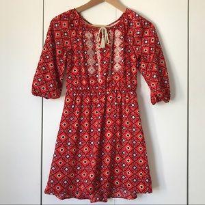 Copper Key Boho Tassel Orange Purple Dress Sz Med