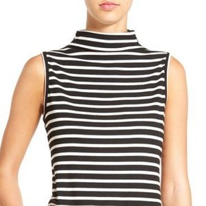 Tops - Striped Sleeveless Ribbed Mock Neck Top