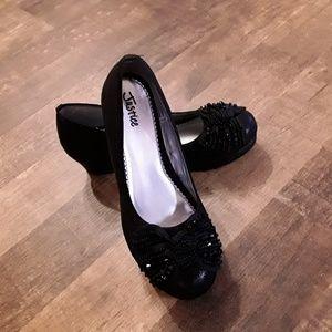Justice girls  dress black platforms shoes size 8
