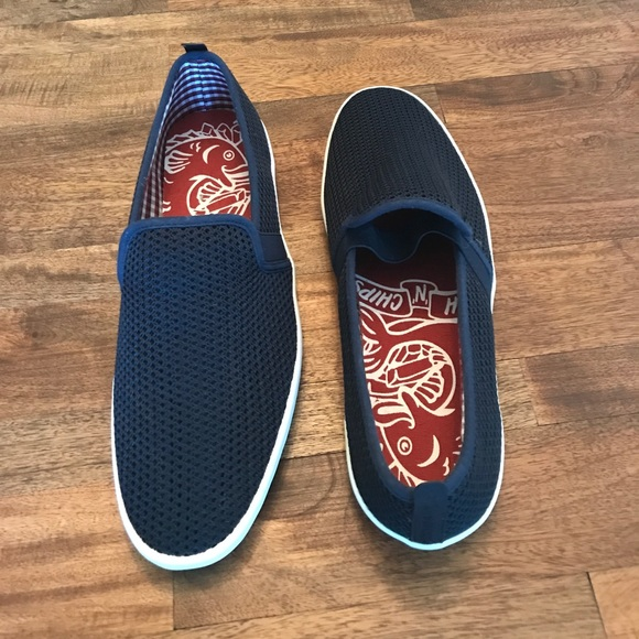 58 off other men 39 s fish n chips brand blue slip ons sz for Fish and chips shoes