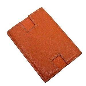 Authentic Hermes Orange Togo Leather Card Holder