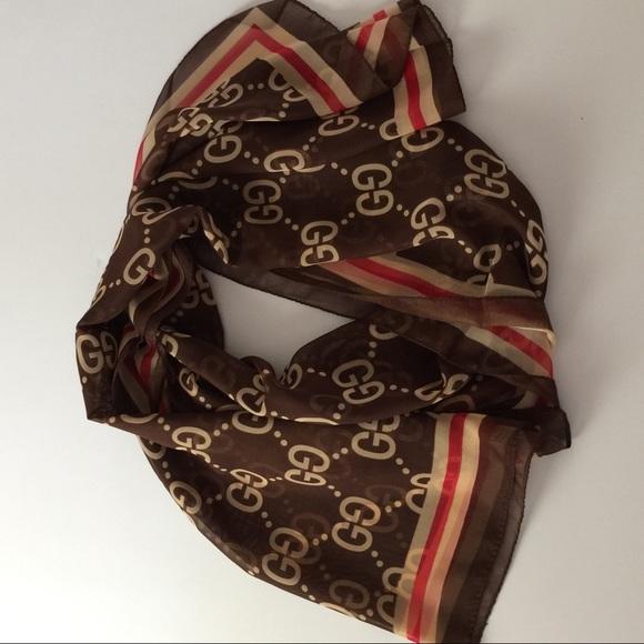 1092fa77c56 Gucci Accessories - Authentic Gucci 100% Silk Brown Red Silk Scarf