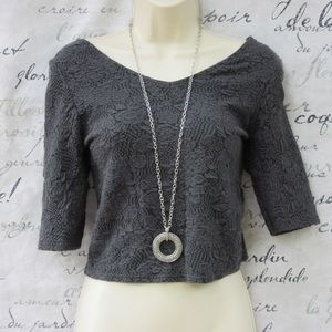 Topshop Gray Raised Lace Crop 3/4 Sleeve Top