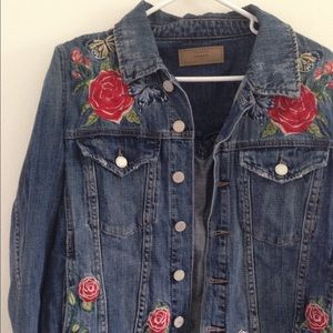 Blank NYC Distressed Embroidered Denim Jacket
