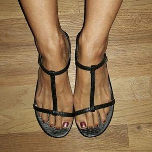H&M embossed t-strap sandals