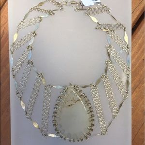 Jewelry - NWT Handmade Silver Metal Choker w/ Stone