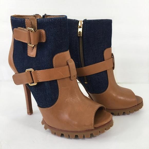 3c68b9ba1ae Tory Burch Shoes - Tory Burch Two-Tone Peep-Toe Ankle Boots