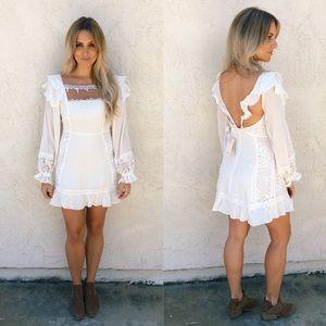 For Love and Lemons Crema Silk Linen Dress