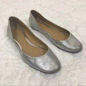 Bp nordstroms leather flats silver crackled 7.5
