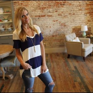 Navy and white striped V neck tunic tee