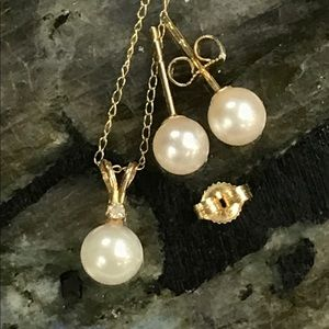 14kt Gold, Genuine Pearl Earring