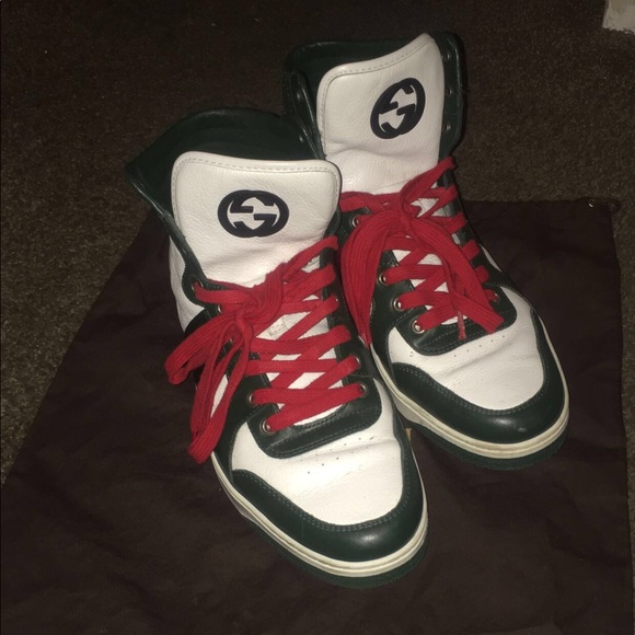 66 off gucci other gucci white leather web high top men 39 s sneakers from renee 39 s closet on. Black Bedroom Furniture Sets. Home Design Ideas
