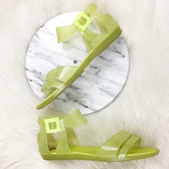 b602dc56ccba Melissa Yellow Lime Ballerina Jelly Flat Sandals. M 595f2cbed14d7b0a6901cd17