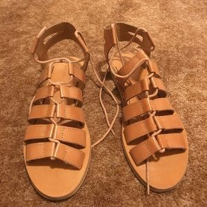 UO Tan Lace-Up Sandals