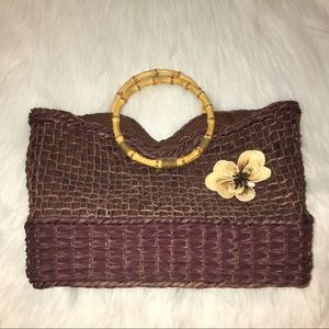 Handbags - Straw Handbag-Bamboo Handles