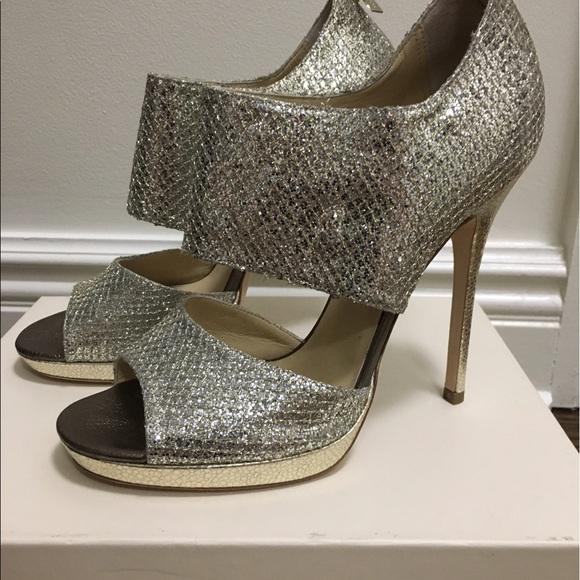 21695bc14b6 New Jimmy Choo Private Champagne Glitter Sandals