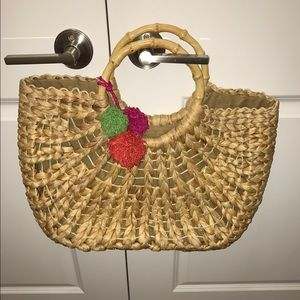 Other - Beach bag with color Pom poms